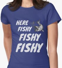 Here Fishy Fishy Fishy Artwork Women's Fitted T-Shirt