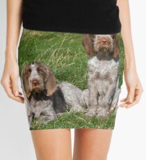 Italian Spinoni Orange and White Adult with Brown Roan Puppies Portrait Mini Skirt