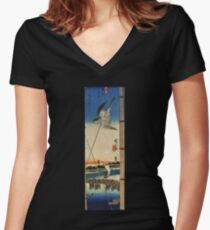 A Cuckoo Flying Past Masts by Utagawa Hiroshige (Reproduction) Women's Fitted V-Neck T-Shirt