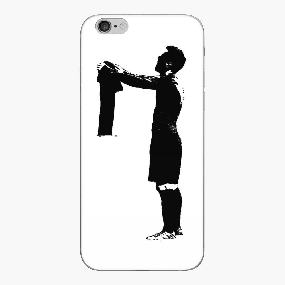Celebración de Messi en blanco y negro Vinilo para iPhone