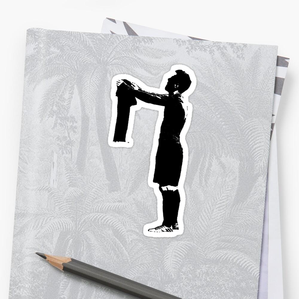 Celebración de Messi en blanco y negro Pegatina
