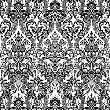 damask in black and white by clemfloral