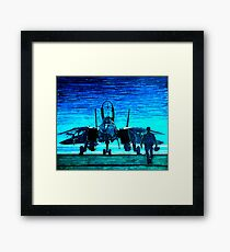moonlight mission-an f14 tomcat fighter pilot walks to his plane Framed Print