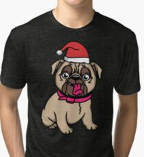 Cute pug dog ready for Christmas Tri-blend T-Shirt