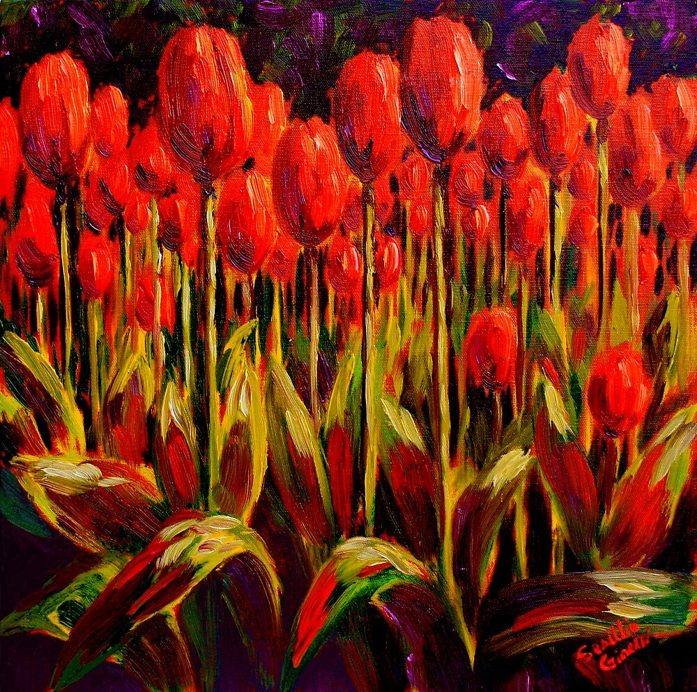 Red Tulips in the Light by sesillie
