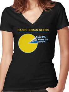 Basic Human Needs Funny TShirt Epic T-shirt Humor Tees Cool Tee Women's Fitted V-Neck T-Shirt