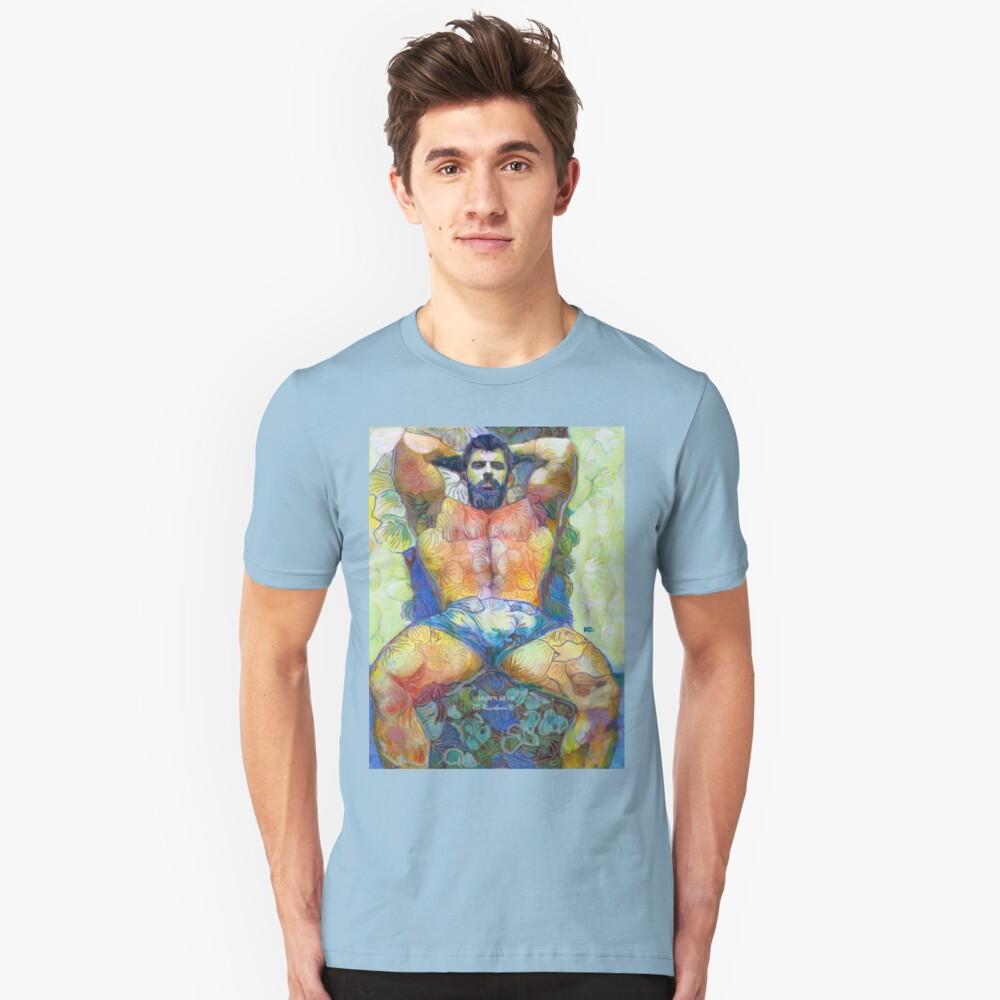 Garden Bear by RD Riccoboni - Naughty Boy Painting  Unisex T-Shirt Front