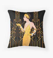 Art deco lady, art deco pattern,1920 era, flapper girl,The Great Gatsby,black,gold,art deco, vintage,elegant,chic,modern,trendy Throw Pillow