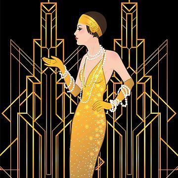 Art deco lady, art deco pattern,1920 era, flapper girl,The Great Gatsby,black,gold,art deco, vintage,elegant,chic,modern,trendy by love999