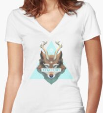 Mistic Wolf Fitted V-Neck T-Shirt