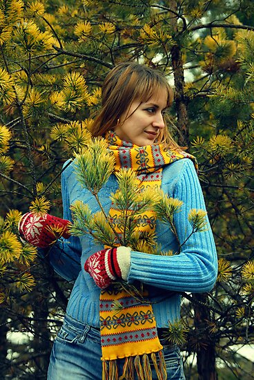 there is a portrait of girl in wood by Iuliia Dumnova