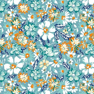 modern, flower,floral,pattern,white,orange,mint,teal,green,navy blue, country chic,girly by love999