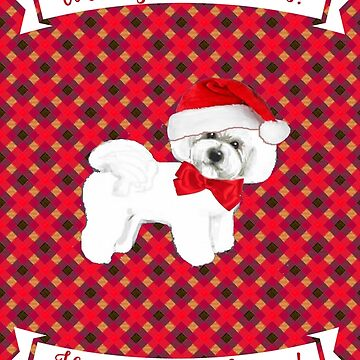 Bichon Frise Christmas Card, New Year Card by MagentaRose