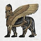 Assyrian Winged Lion - Gold and Black Lamassu over White Leather by Serge Averbukh