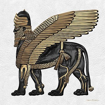 Assyrian Winged Lion - Gold and Black Lamassu over White Leather by Captain7