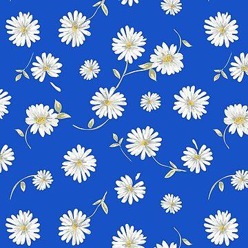 deep blue,white spoon flowers by love999