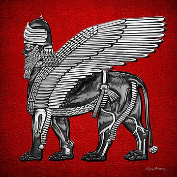 Assyrian Winged Lion - Silver and Black Lamassu over Red Leather by Captain7