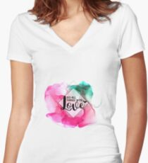 Do All Things with Love   Inspirational Quote Women's Fitted V-Neck T-Shirt