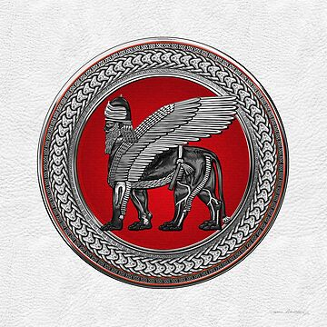 Assyrian Winged Lion - Silver and Black Lamassu on Red and Silver Medallion over White Leather by Captain7