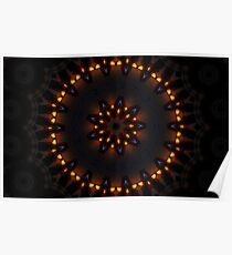 Dark Orange Mysterious Mandala Poster
