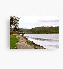 People on the Shoalhaven River Wharf Canvas Print