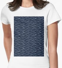 Thin Hand Painted Wavy Stripes Indigo Women's Fitted T-Shirt
