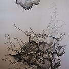 Landscape Study in Pencil.  Rocky Landscape, by Lozzar Flowers & Art