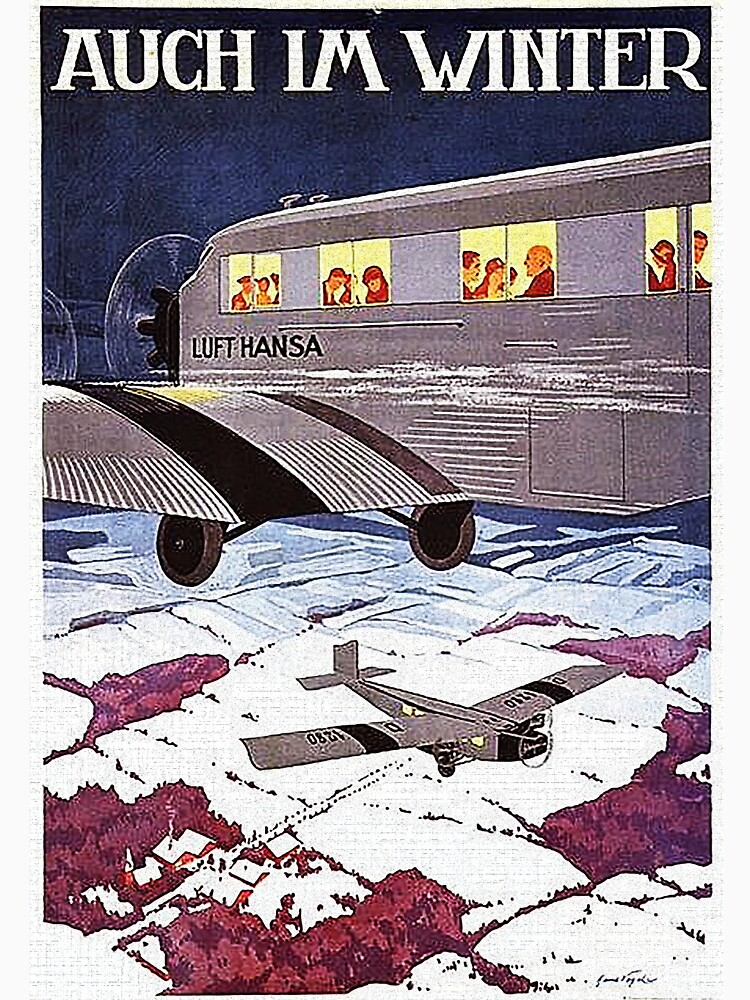 Early German winter air travel advertisement by edsimoneit