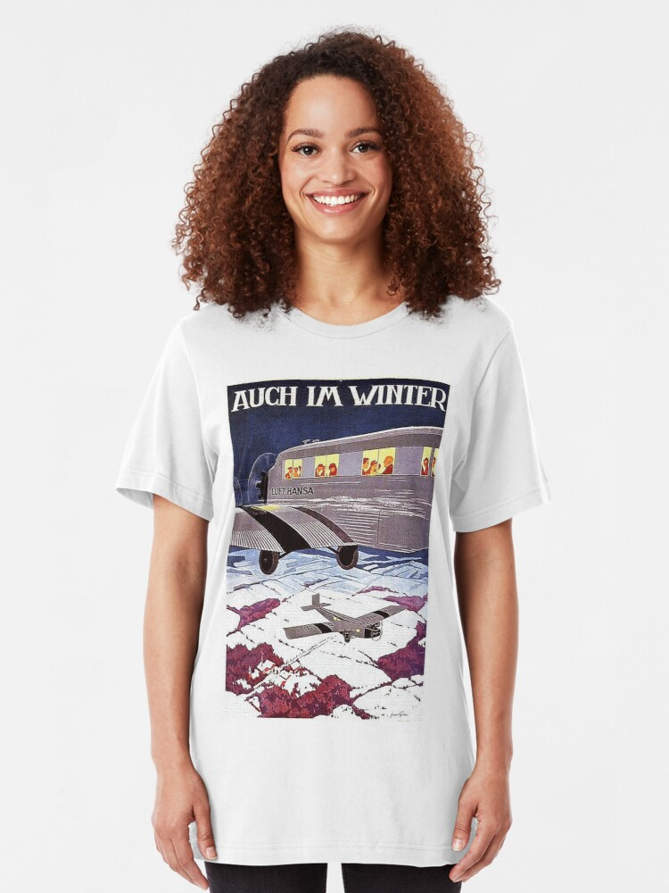Alternate view of Early German winter air travel advertisement Slim Fit T-Shirt