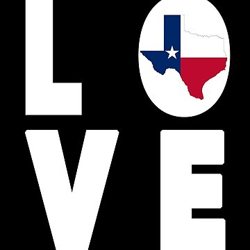 Texas Love Lone Star Flag State Shape by cnkna