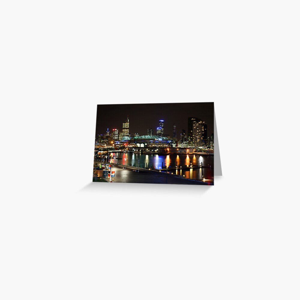 Docklands By Night, Melbourne, Australia Greeting Card
