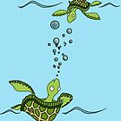 Sea Turtles at Play by ErikaWasner
