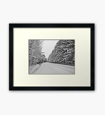 White Winter Country Road Framed Print