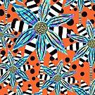 Pinwheel Flowers on Orange Sorbet by RC-aRtY