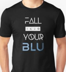 BLU weißer Text Slim Fit T-Shirt