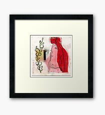 woman profile and branch Framed Print