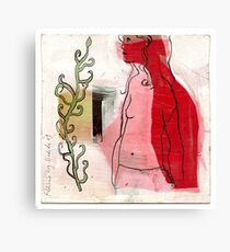 woman profile and branch Canvas Print