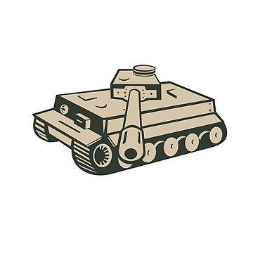 World War Two Panzer Tank Retro by patrimonio