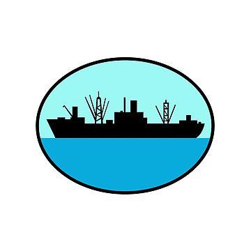 World War Two Attack Cargo Ship Retro by patrimonio