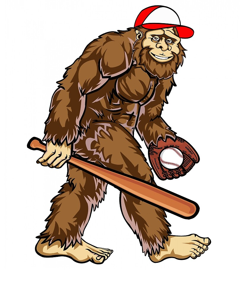 Bigfoot Hunter Baseball Player Hat Bat Gloves Game Cool