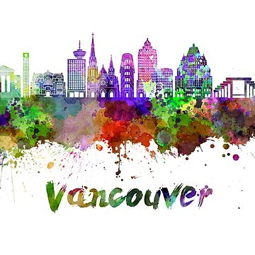 Vancouver V2 skyline in watercolor splatters by paulrommer