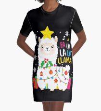 Lustige Lama-Fa-La-La-Weihnachtsverzierungs-Dekore T-Shirt Kleid