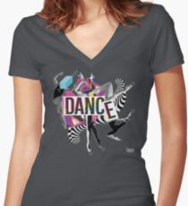 DANCE - A graphic tribute to BALLET -  Women's Fitted V-Neck T-Shirt
