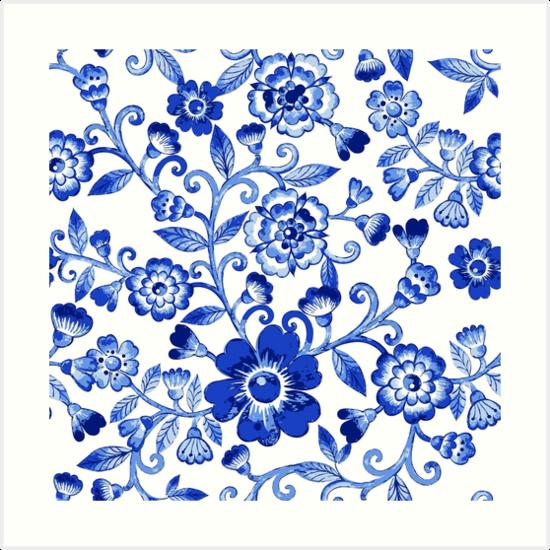 Laminas Artisticas Vector El Modelo Floral Azul De La Textura De La