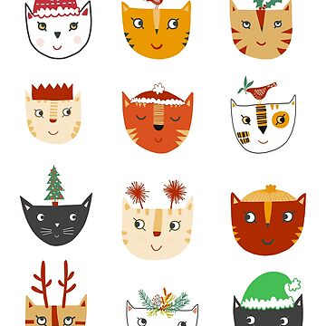 Kitty Cat Cute Funny Christmas Hat Art by squirrell