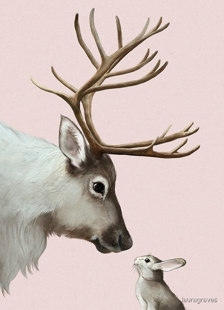 reindeer and rabbit by lauragraves