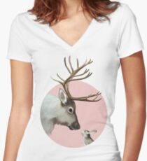 reindeer and rabbit Fitted V-Neck T-Shirt