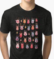 Reindeers - Animal cuteness - Winter watercolor pattern - Rudolph Tri-blend T-Shirt