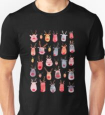 Reindeers - Animal cuteness - Winter watercolor pattern - Rudolph Unisex T-Shirt
