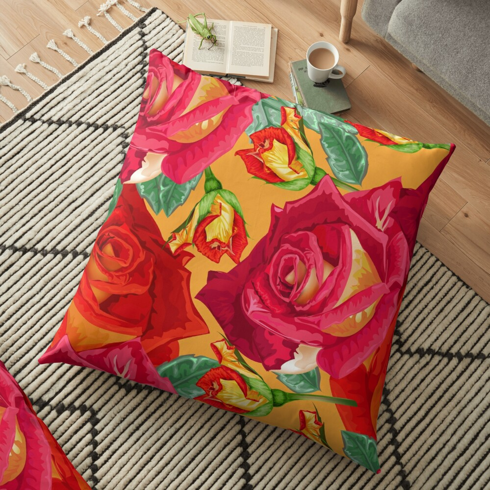Trendy Floral Pattern Floor Pillow